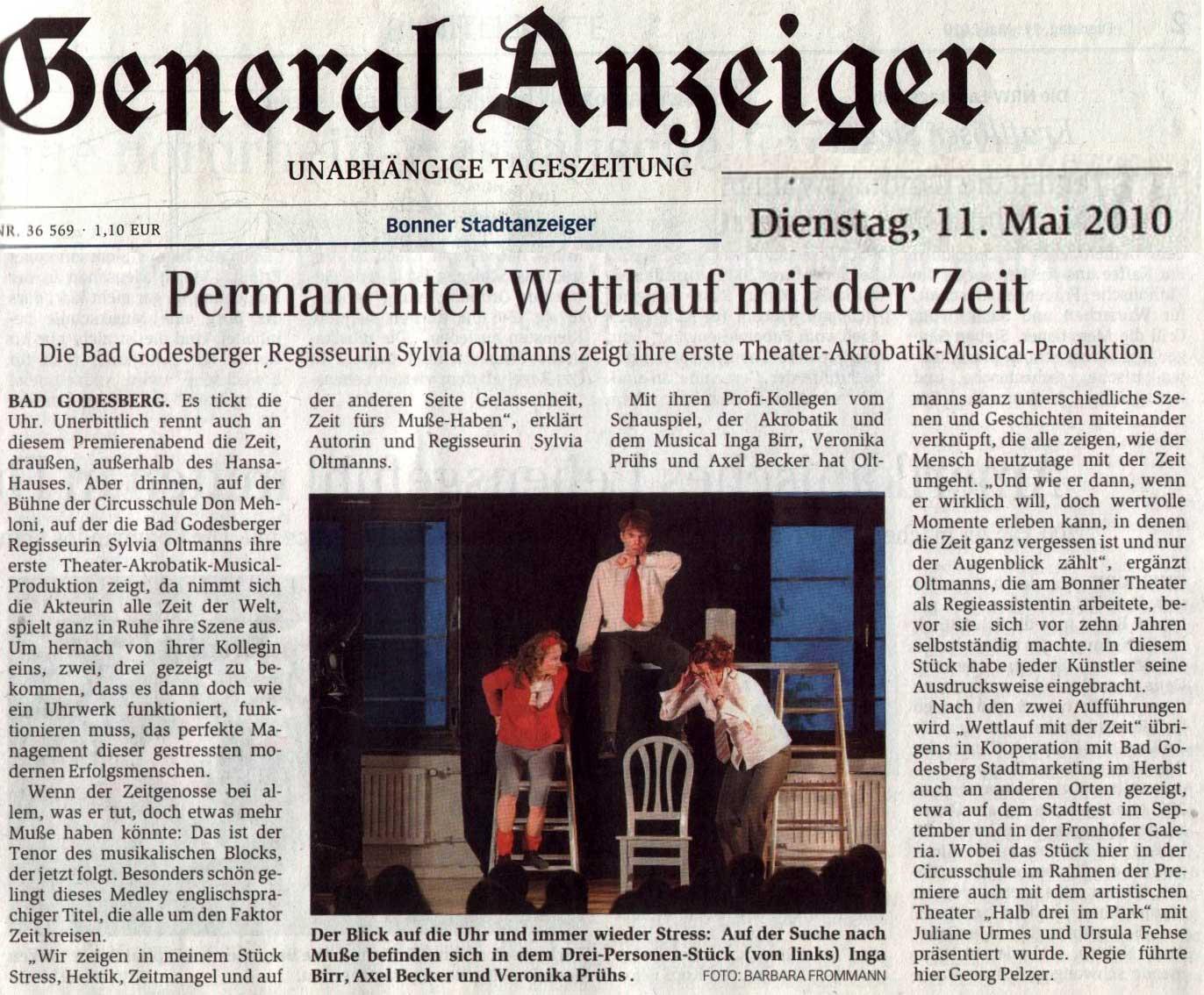 """Hier ist ein Bild mit dem Artikel im Bonner Generalanzeiger über """"Wettlauf mit der Zeit"""""""